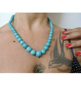 "Collier à perles bleues turquoise en pierre ""Turquoise at my neck"""