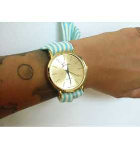 """Montre foulard à rayures bleues et blanches """"Blue and white watch"""""""