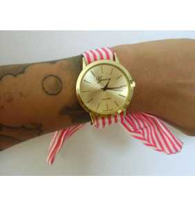 """Montre foulard à rayures roses framboise et blanches """"Raspberry and white watch"""""""