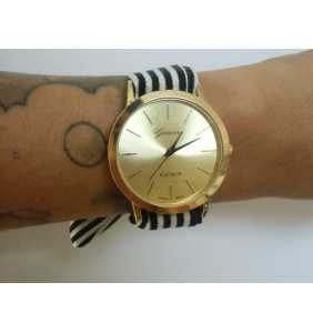 """Montre foulard à rayures noires et blanches """"Black and white watch"""""""