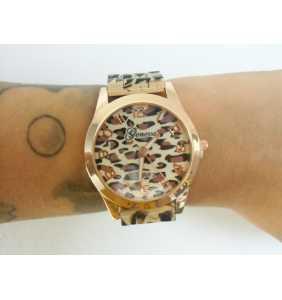 """Montre en plastique léopard beige et marron """"Beige leopard watch"""""""