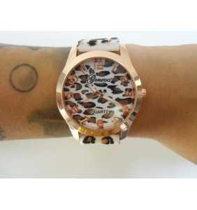 """Montre en plastique léopard blanc et marron """"White leopard watch"""""""