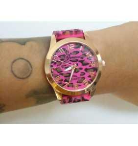 """Montre en plastique léopard rose et marron """"Pink leopard watch"""""""