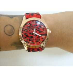 """Montre en plastique léopard rouge et marron """"Red leopard watch"""""""