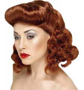 """Perruque rousse mi-longue coiffure rétro années 40 """"Vintage hair"""""""