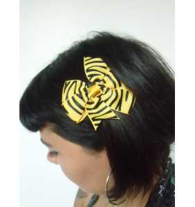 """Pince clip à cheveux noeud tissu tigré jaune et noir """"Yellow tiger bow"""""""