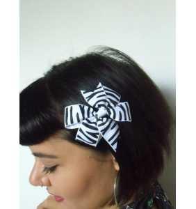 """Pince clip à cheveux noeud tissu zébré noir et blanc """"Zebra bow"""""""