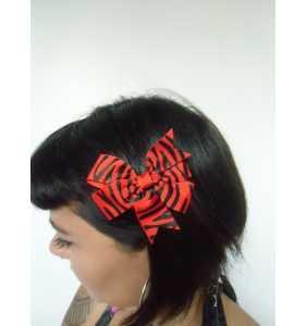 """Pince clip à cheveux noeud tissu zébré rouge et blanc """"Red zebra bow"""""""