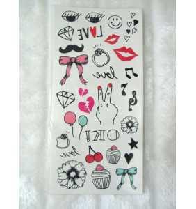 """Planche de tatouages temporaires crayonnés """"Girly kawaii tattoos"""""""