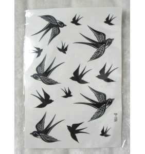 """Planche de tatouages temporaires hirondelles """"Wild swallows"""""""