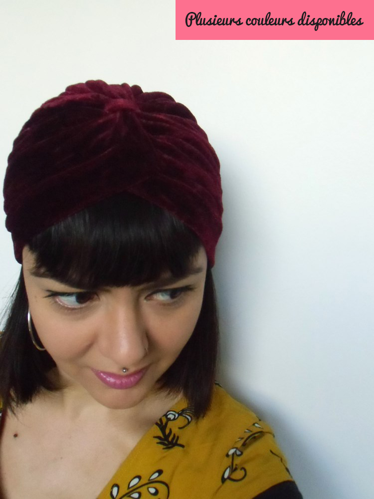 Bonnet turban original en velours noir, rouge ou vert