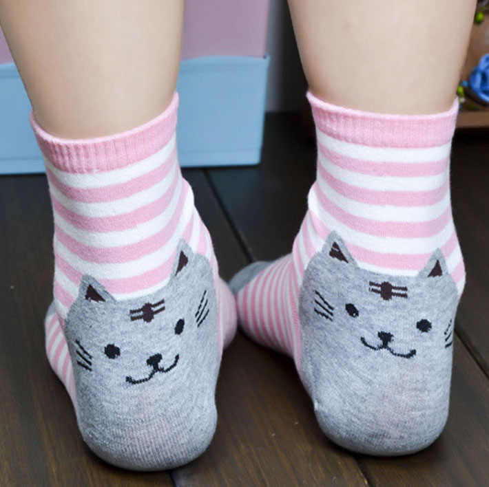 Chaussettes chats originales rayures roses et blanches