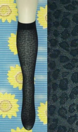 chaussettes hautes noires originales en r sille l opard. Black Bedroom Furniture Sets. Home Design Ideas