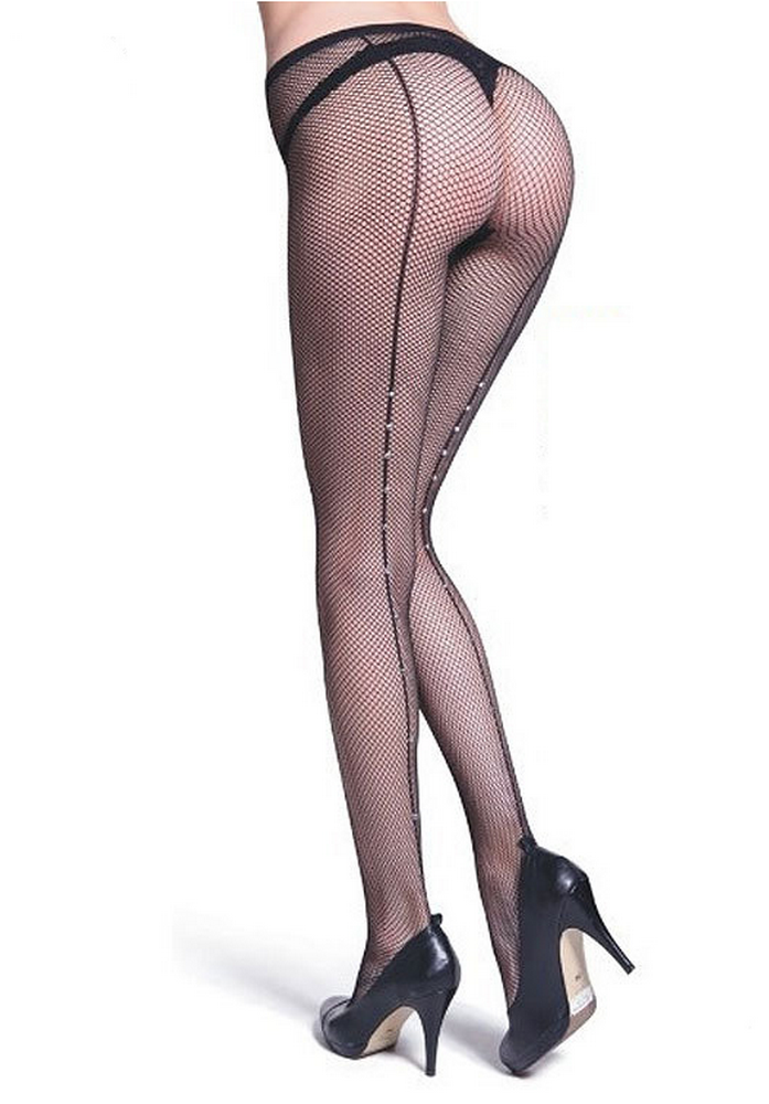 Collants résilles noirs couture à strass transparents