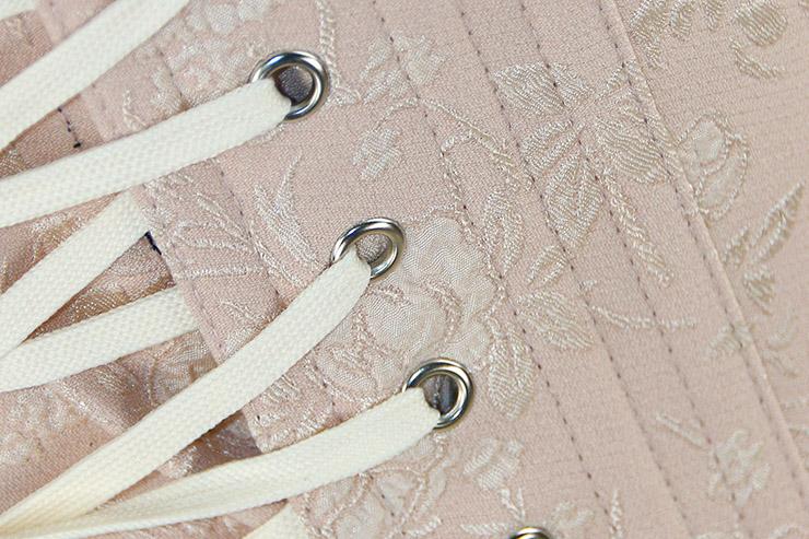 Corset rose pêche abricot armatures métal metalliques bretelles 2 lacets rétro