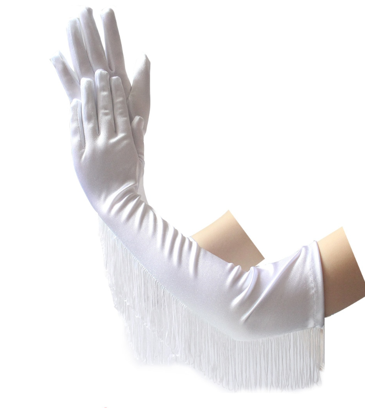 Gants blancs longs satinés cabaret à franges burlesques