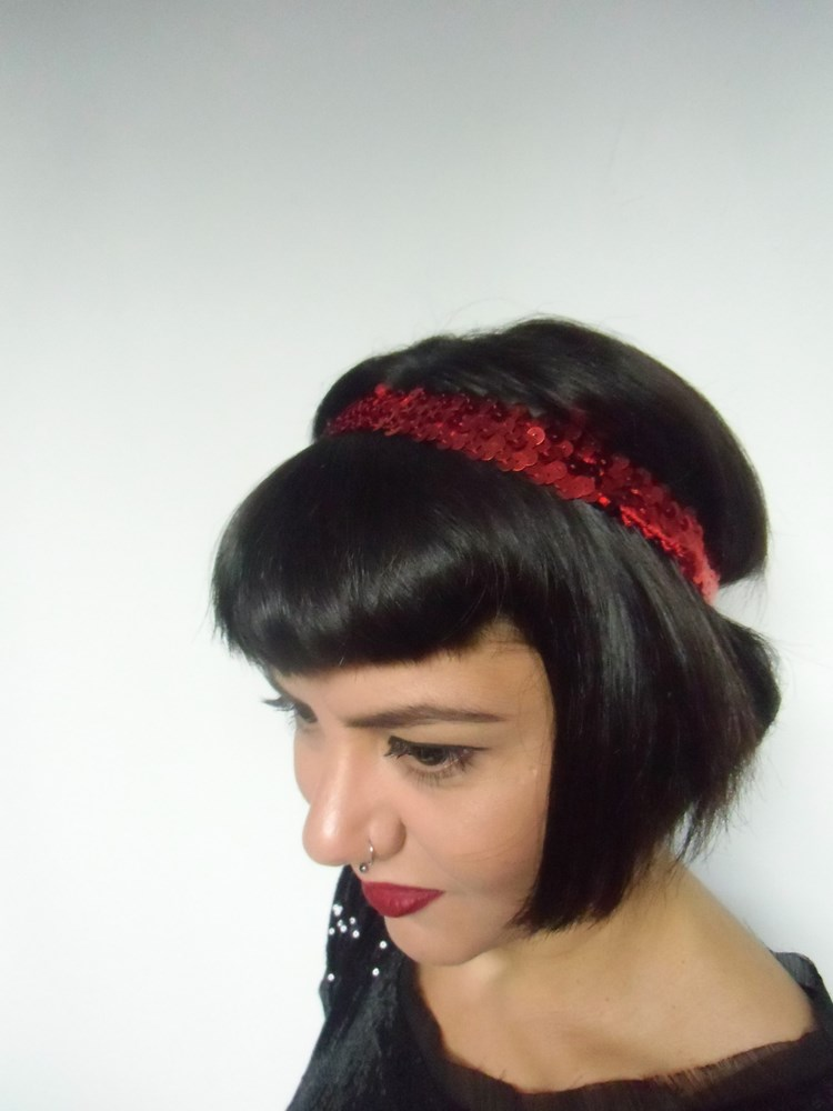 Headband en sequin brillant pin-up rétro charleston