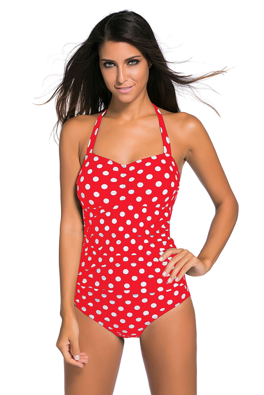 acheter maintenant nouvelles photos comment chercher Maillot de bain rétro pin-up 1 pièce rouge à pois blancs