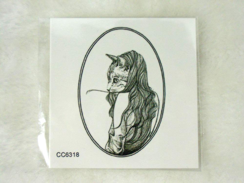 tatouage temporaire original chat d guis en femme. Black Bedroom Furniture Sets. Home Design Ideas