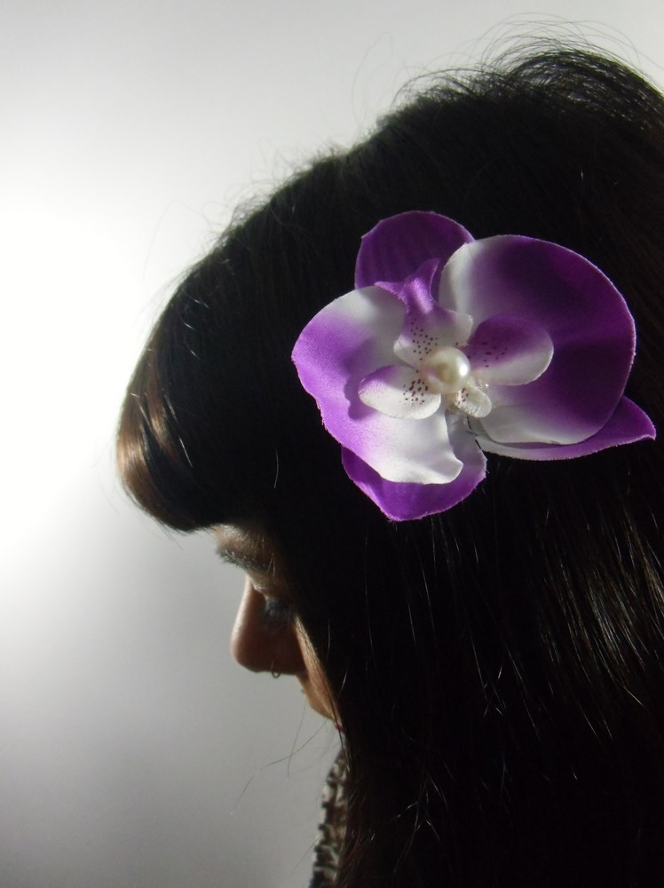 pince clip  u00e0 cheveux fleur d u0026 39 orchid u00e9e mauve demi