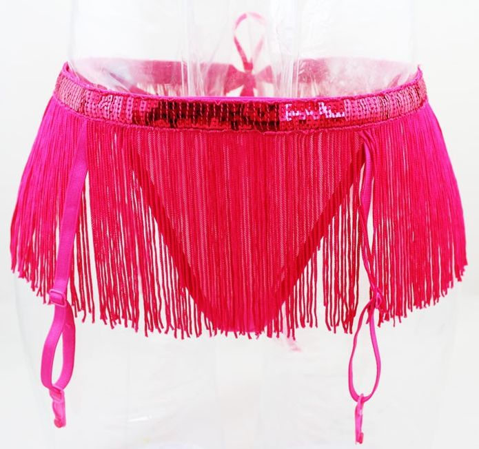 Porte-jarretelles burlesque franges sequin rose fuchsia