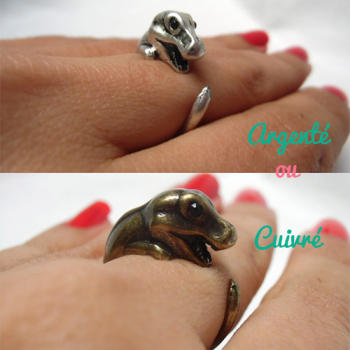 Bague originale animal tyrannosaure enroulé
