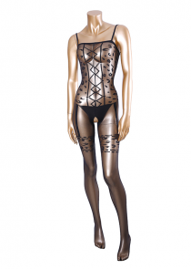 Bodystocking transparent noir taches de léopard sexy
