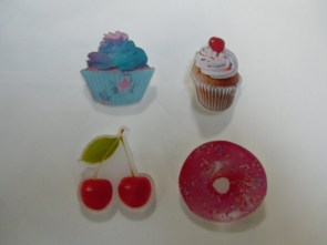 Broches aliments girly cupcakes, cerises et donuts