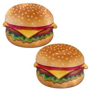 Cache-tétons nippies hamburgers junk food