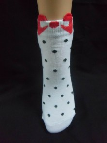 "Chaussettes blanches à pois noirs ""Red bow"""