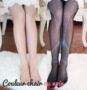 Collants fantaisie noirs ou chair queue de sirène à paillettes