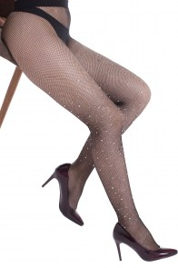 Collants résilles noirs à strass brillants