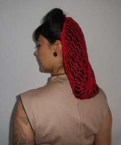 Filet à cheveux rouge rétro vintage en crochet pinups
