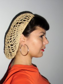 Filet à cheveux snood beige rétro crochet pinups