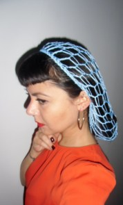 Filet à cheveux snood bleu ciel rétro vintage crochet pinups