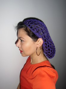 Filet à cheveux snood violet rétro crochet pinups