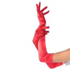 Gants burlesques rouges extra longs satiné 58cm pinup