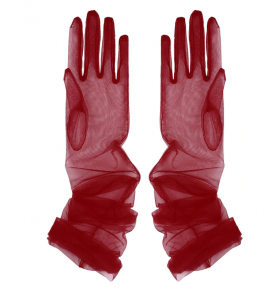 Gants rétro extra longs transparents en tulle bordeaux