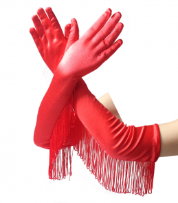 Gants rouges longs satinés cabaret à franges burlesques