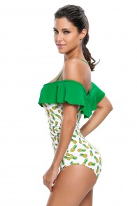 Maillot de bain 1 pièce blanc vert fruits ananas pin-up