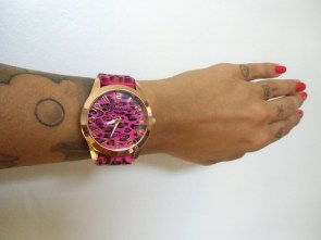 Montre originale bracelet plastique léopard rose marron