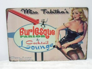 Plaque murale en métal rétro pin-up burlesque