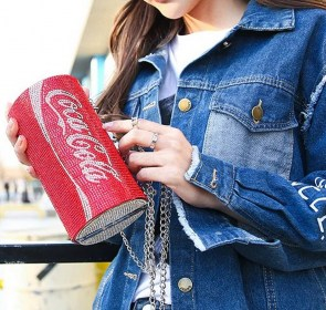 Sac à main minaudière rouge canette cola soda strass rouges