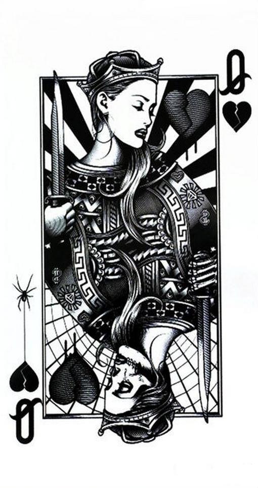 carte dame de coeur Tatouage temporaire original carte à jouer dame de coeur