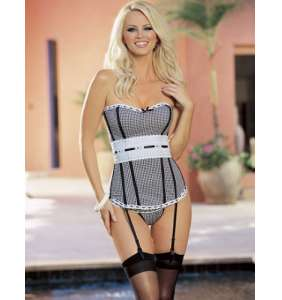 "Corset vichy noir ""Country girl"""