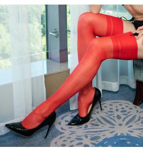 """Bas rouges couture rouge pour porte-jarretelles """"Sexy pinup legs"""""""