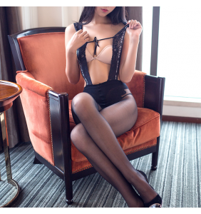 "Bodystocking noir effet collants à bretelles ""See my suspenders"""