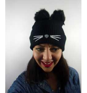 """Bonnet chat à oreilles en fausse fourrure """"Winter cat"""""""