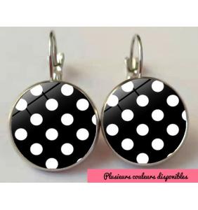 """Boucles d'oreilles pin-up cabochons en verre à pois """"Pinup classy dots"""""""