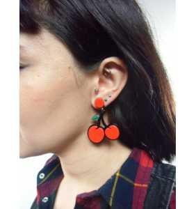 """Boucles d'oreilles cerises en acrylique """"Cherries pinup"""""""